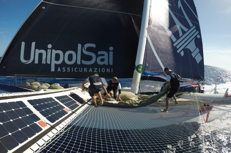 Maserati Multi70 and Phaedo3 still within sight of each other off the Aeolian Islands