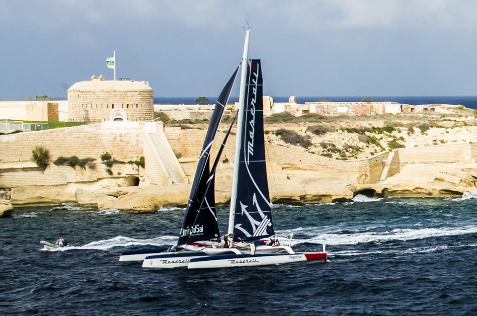 Maserati Multi70 first across the finish line in the Rolex Middle Sea Race