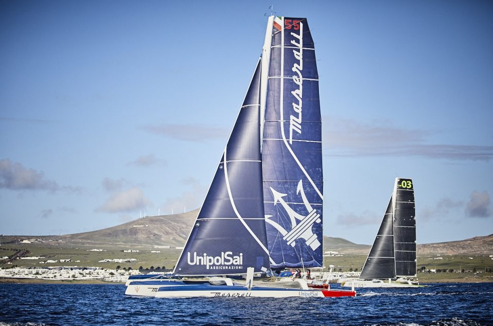 Podium for Phaedo3, Maserati Multi70 now 216 miles from finish