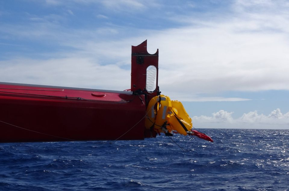 MaseratiMulti70 slowed by broken right rudder after collision with an unidentified floating object