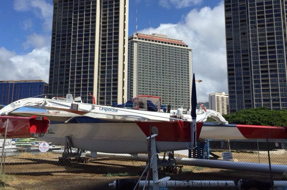 MASERATI MULTI70 IN THE SHIPYARD IN HONOLULU