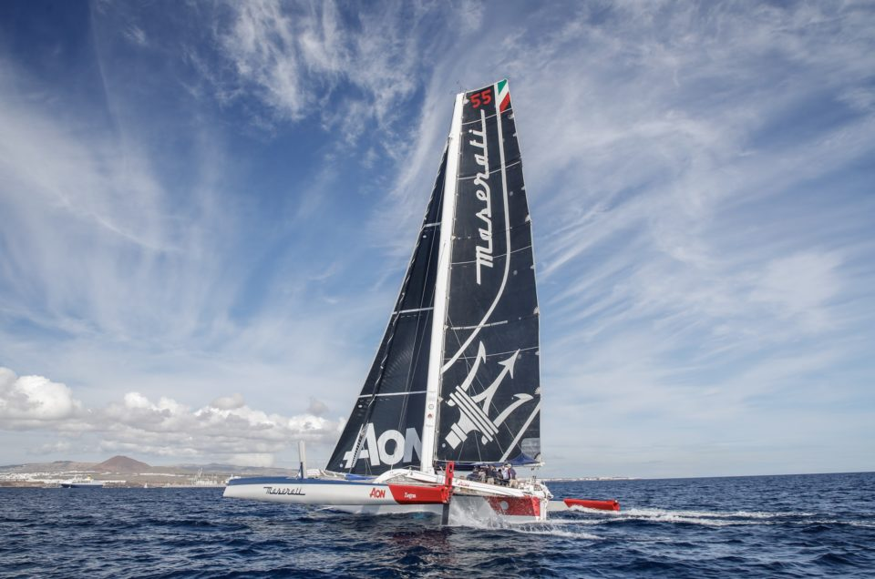 Maserati Multi 70 in Lanzarote, damages to the starboard rudder