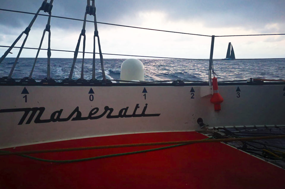 Maserati Multi 70 down wind with the Gennaker towards the Trade Winds