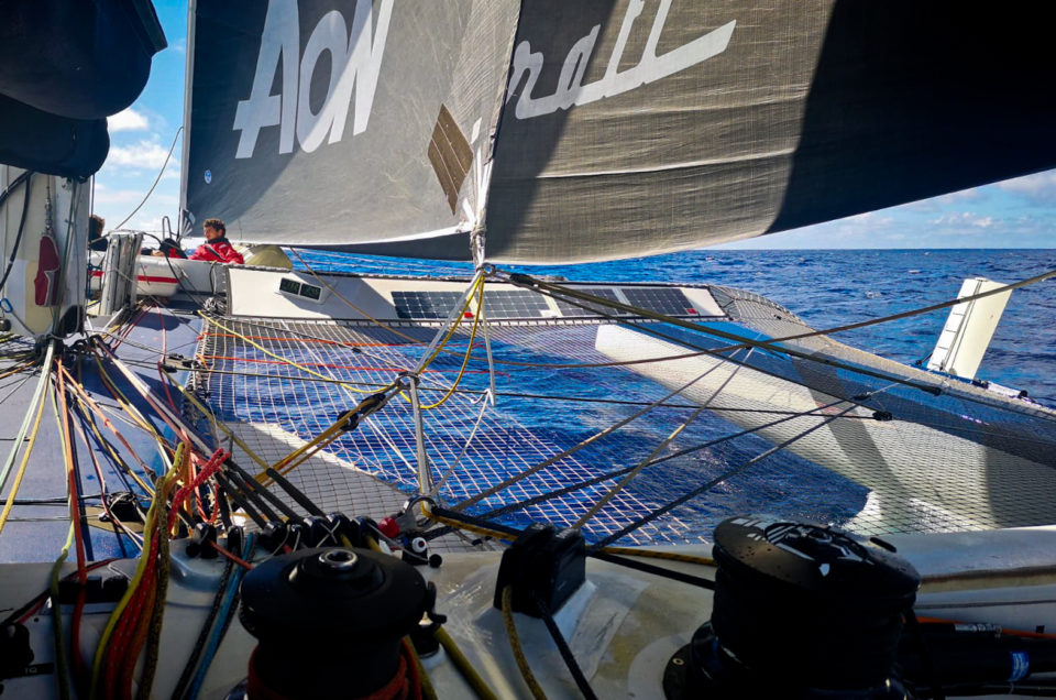 Maserati Multi 70 is sailing down wind between 25 and 29 knots of speed