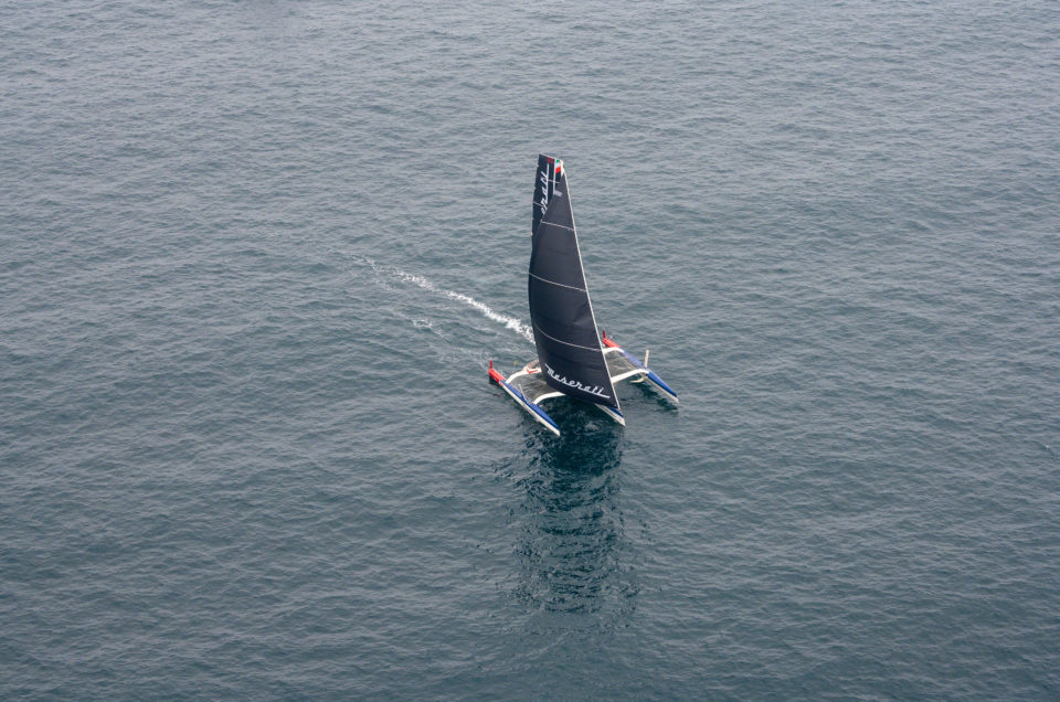 Maserati Multi 70 is sailing in the trade wind with 27 knots of average speed