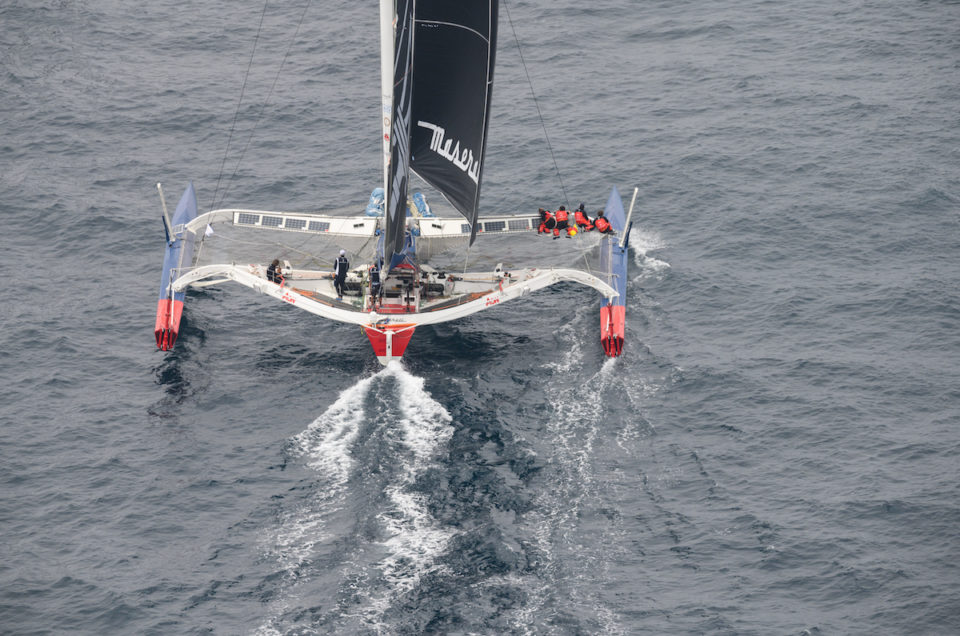 """Maserati Multi 70 on starboard tack again. Soldini: """"There's no way we can go faster than 26 knots on average"""""""