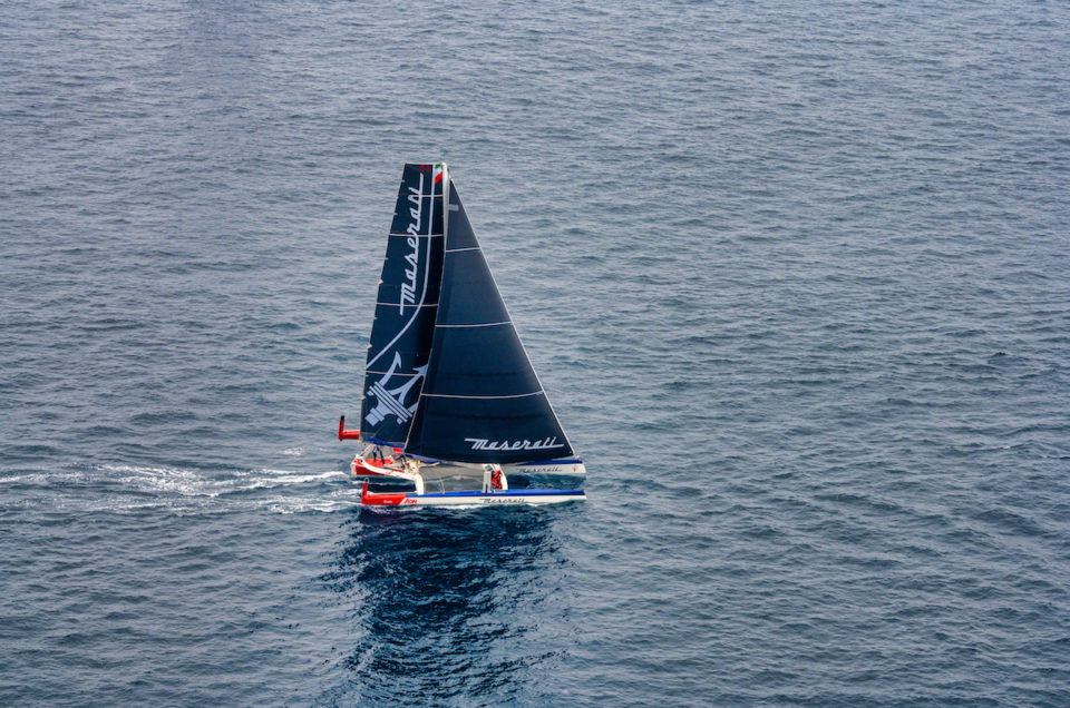 Maserati Multi 70 is flying on port tack after a complicated maneuver