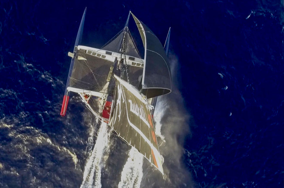 Maserati Multi 70 dealing with 7 meters high waves East of Madagascar
