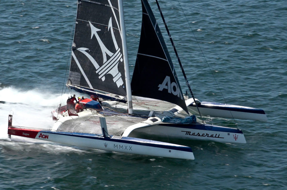 Maserati Multi 70 whizzes at 30 knots in a duel with LoveWater
