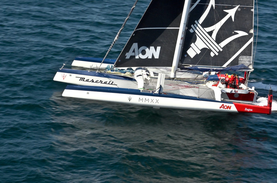 Maserati Multi 70 dealing with calm winds