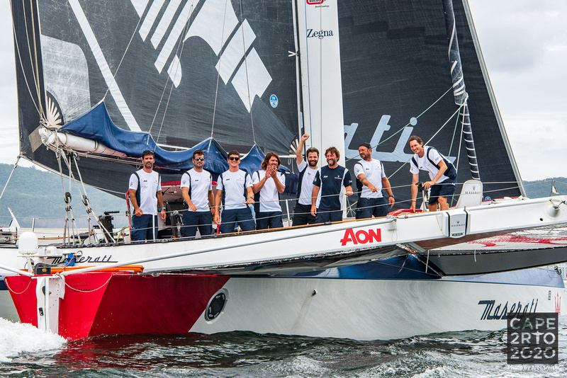 Maserati Multi 70 finishes the race with an elapsed time of 8 days, 3 hours, 9 minutes and 34 seconds