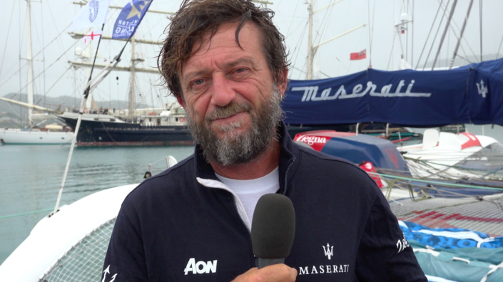 Maserati Multi 70 - RORC Caribbean 600 - Interview at the arrival